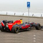 Red Bull Formula 1 car parking at the beach